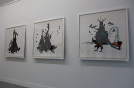 Installation view, Base-Alpha gallery, entrance. 3 inkjetprints (framed, 1m10 x 1m10), 2009