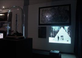 Exhibition detail: drawing by Erwin van Looveren, video by Lisa Jeannin & Rolf Schuurmans. In the front: work by Geoffrey De Beer.
