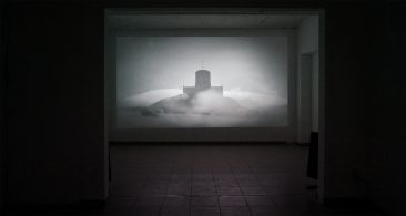 "Inertia, installation view, Installation view at Van Stof Tot Asse, 2014, film (HD, 10'00"", bw/w, sound)"