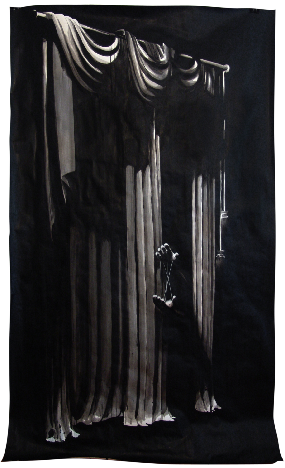 TRICK, Indian ink & acrylic paint on paper, 1m50 x 2m30, 2010, Alexandra Crouwers