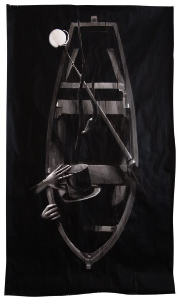 BOAT, Indian ink on paper, 1m50 x 2m22, 2011, Alexandra Crouwers