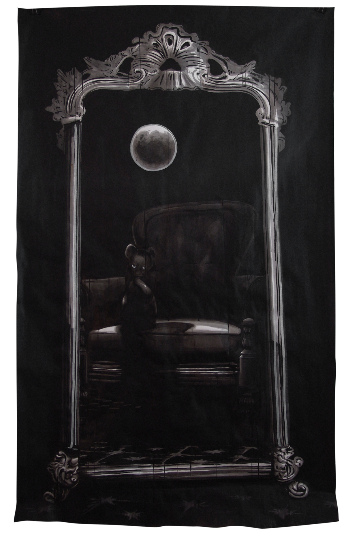 FULL MOON, 1m50 x 2m20 Indian ink & acrylic paint on paper, 2010, Alexandra Crouwers