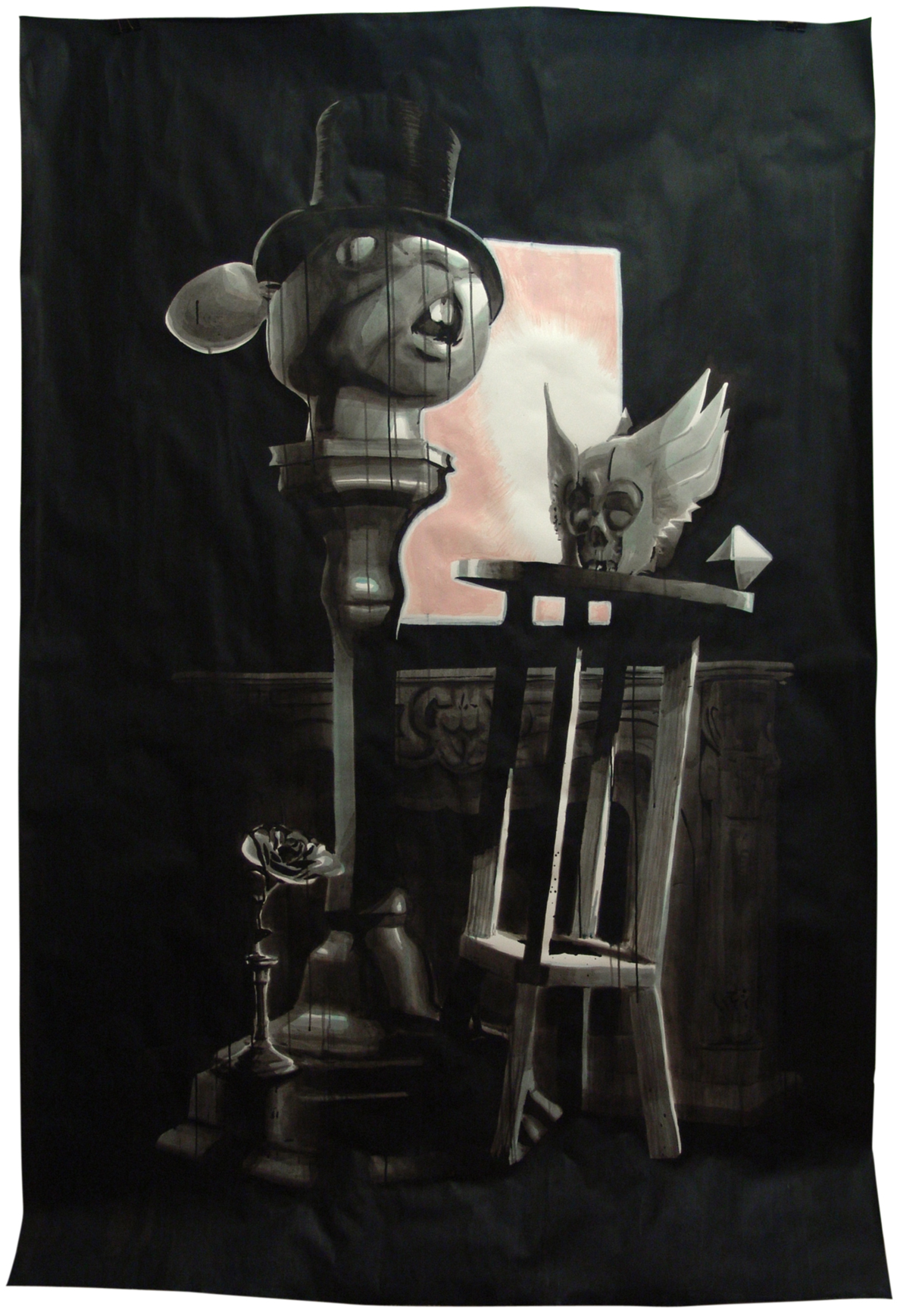 UNTITLED [still life], Indian ink & acrylic paint on paper, 2.27m x 1.50m, 2010